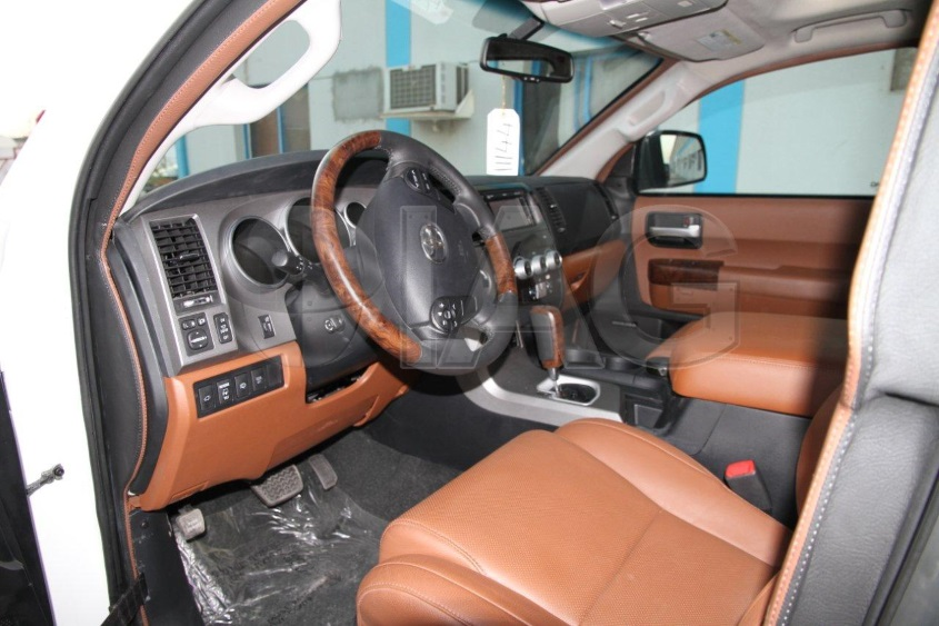 armored Toyota Sequoia interior